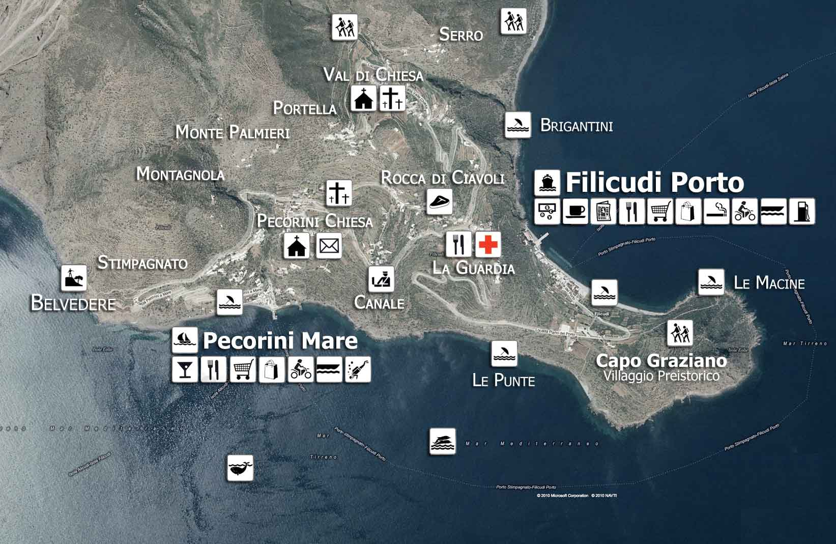 Map of the attractions of Filicudi - Sicily - Aeolian Islands