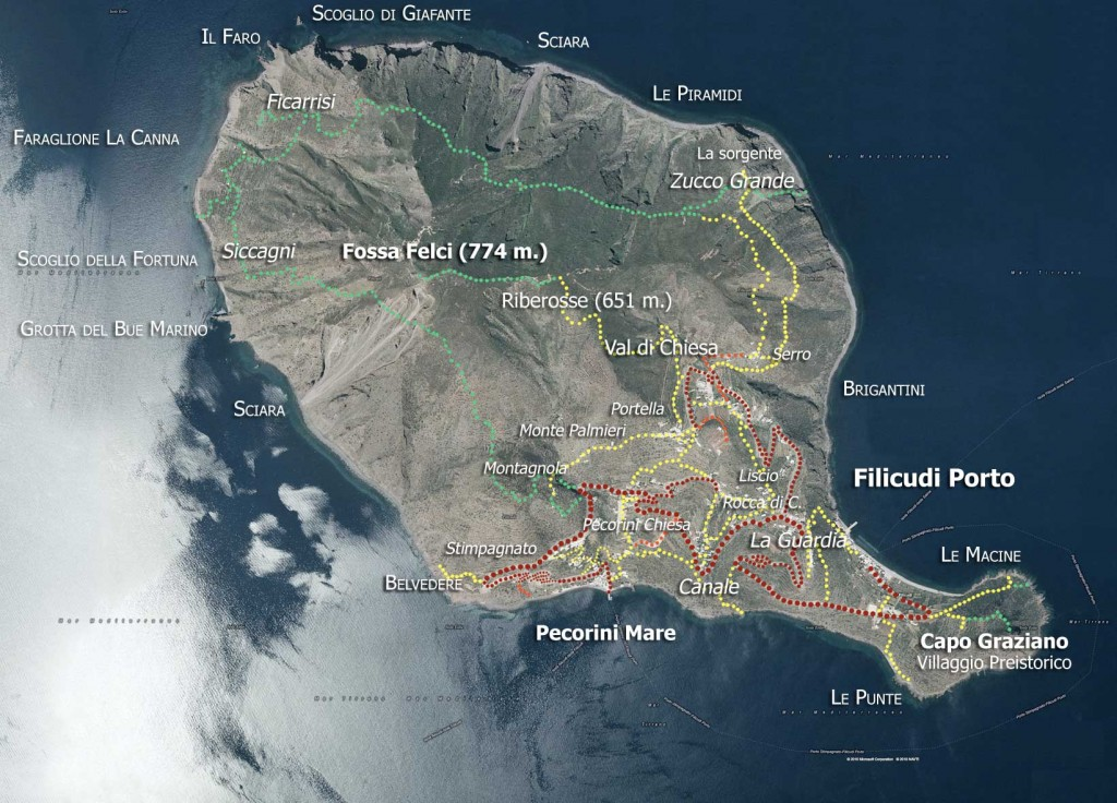 Filicudi Map, Aeolian Islands - Sicily, Italy